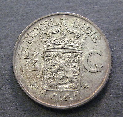1941 P  Netherlands East Indies 1/4 Gulden  - Silver - * No Reserve * - (L775)