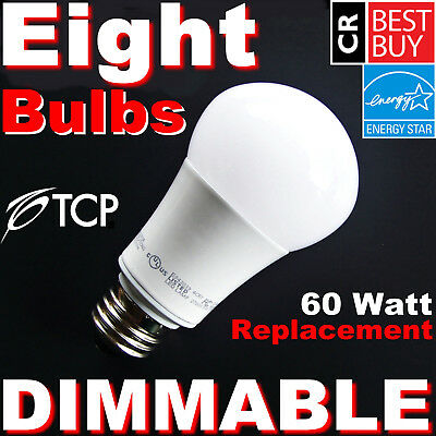 60W ▶DIMMABLE◀ LED Soft White 60 Watt Equivalent Light Bulbs 2700K A19 By TCP