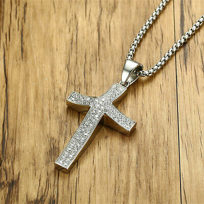 Zirconia Cross Pendant Necklace Silver Stainless Steel Chain For Men Women