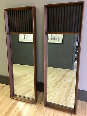 Pair of Lane Walnut & Rosewood Mirrors - Vintage Mid-century Modern MCM