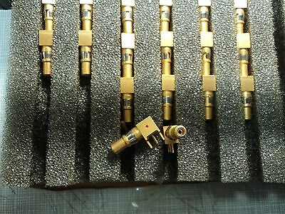 10 X Gold Plated RF Conectors Cannon XQ6411503-01  90Deg. PC Board Comp. Mnt.