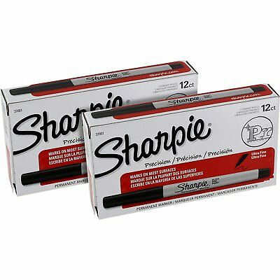 Sharpie Precision Permanent Markers Ultra Fine Point Black Ink Pack of 24 37001