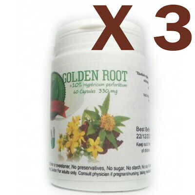 Rhodiola Rosea with 10% Hypericum perforatum  60 cap. 330 mg(Golden Root) Lot x3