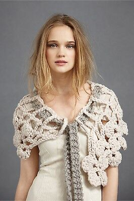 BHLDN Anthropologie STITCHED LABYRINTH COLLAR Shawl Bridal Coverup o/s NWOT $200