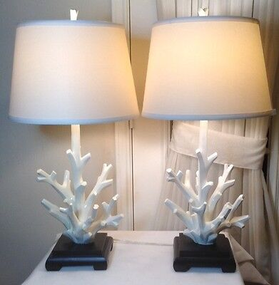 """Pair of 28""""H Beautiful Large White Resin Coral Table Lamp With Stand 18 Pounds"""