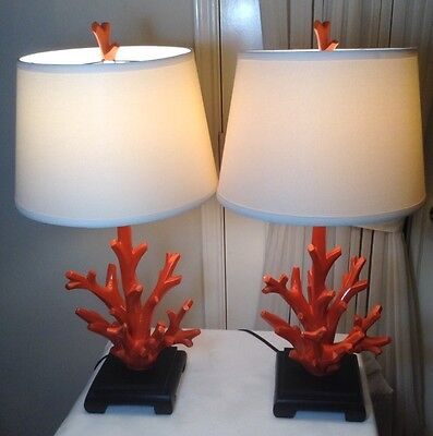 """Pair of 28""""H Beautiful Large Orange Resin Coral Table Lamp With Stand 18 Pounds"""