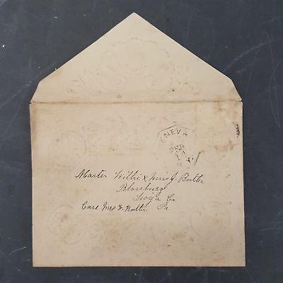 1800s antique FANCY EMBOSSED empty ENVELOPE cover sent to J. BUTLER tioga co pa