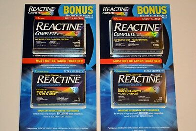 2 BOXES REACTINE Complete Sinus + Allergy 30 Extended Release Tablets With  Bonus