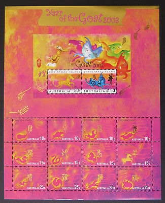 2003 Christmas Island Stamps - Lunar New Year - Year of the Goat Sheetlet MNH