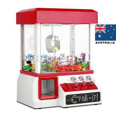 Mini Toy Claw Machine Arcade Game Candy Catch Grabber w/ LED Light& Music Red AU