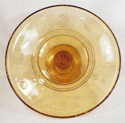 Antique Willow Oak Cake Stand Amber Early American Pressed U S Glass 1891 Nice