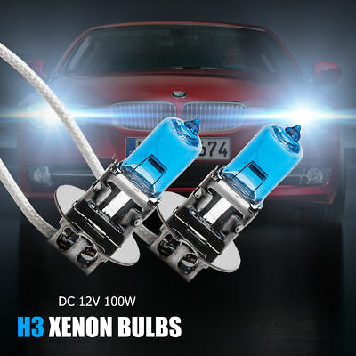 2pcs H3 12V 100W Xenon White 6000k Head Light Globe Bulb Halogen Fog Lamp