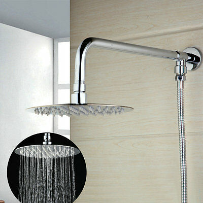 "Wall Mounted Bathroom  8"" Ultra Thin Rain Shower Head With Shower Hose Arm Set"