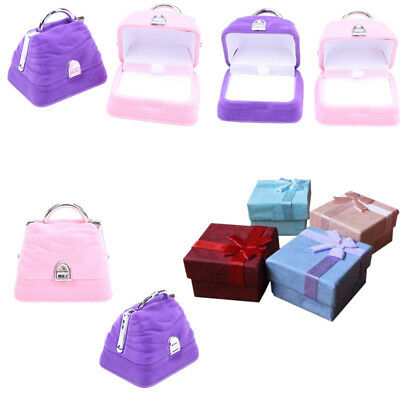 2/10 Pcs Ring Earring Jewelry Display Gift Box Bowknot Square Case Box