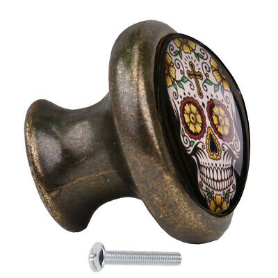 2pcs Metal Skull Door Drawer Cabinet Wardrobe Pull Handle Knob Door Hardware