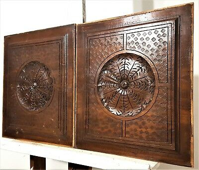 Hand Carved Wood Panel Pair Antique French Gothic Spider Web Archectural Salvage