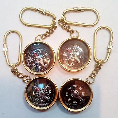 Lot Of 4 Pcs Nautical Maritime Vintage Style Brass Pocket Compass Key Chain