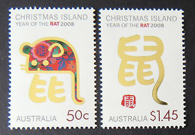 2008 Christmas Island Stamps - Lunar New Year- Year of the Rat - Set of 2 MNH