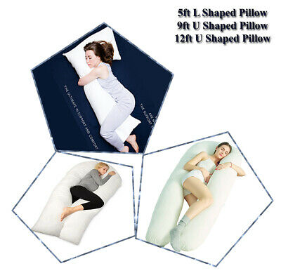 Extra Fill 5 Ft Comfort U Pillow Body Back Support Nursing Maternity Pregnancy