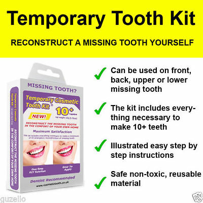 2x FALSE TEETH TEMPORARY MISSING TOOTH REPLACEMENT DIY KIT