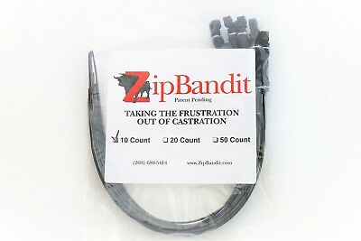 Zip Bandit Cattle Castration Bander, No Tool Needed Band. 10 Castrating Bands.