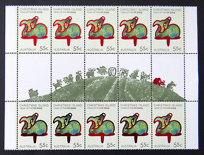 2009 Christmas Island Stamps - Lunar New Year- Year of the Ox-Gutter 10x55c MNH