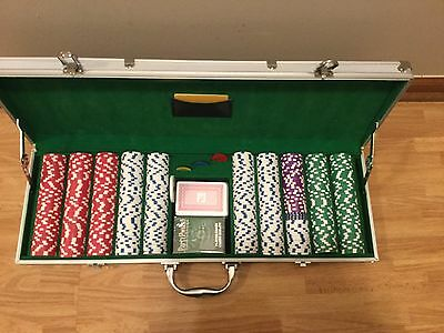 New Party Poker 14 G Clay Poker 500 Chips Set With Aluminum Case