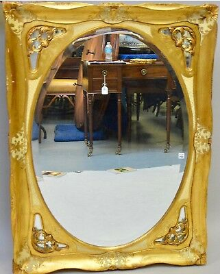 Antique Italian Large Heavy Carved Solid Wood Gold Gilt  MIRROR   49''x37'' Wow!