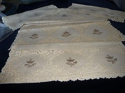 320E vtg LOT 5 DIFFERENT SIZE MATCHING  table RUNNERS Battenburg Lace Embrodered