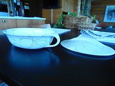 """Iroquois CARRARA MODERN White COVERED CASSEROLE Vegetable Bowl 13"""" MINT COND"""