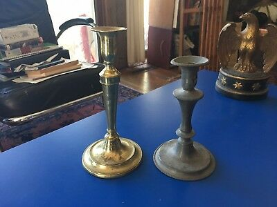 Lot of Two Antique Candlesticks with Make Do Repairs 1 Pewter 1 Brass
