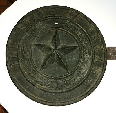 The State of Texas Lone Star Rustic Cast Iron Drilled Medallion Vintage Mexico