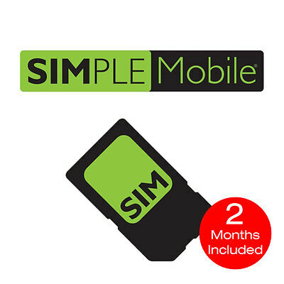 SIMPLE MOBILE NANO SIM CARD + 2 Months Included $50 Unlimited 4G LTE Service
