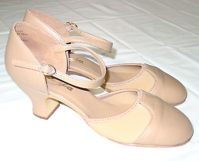 Womens Capezio Piccadilly Character Dance Shoes Size 8.5 Nude Leather
