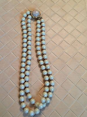 Vintage Two Strand Ivory Color Bead Necklace