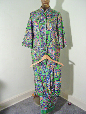 Women's M Vintage MOD PAISLEY Pants & Long JACKET FRENCH FABRICS NEHRU Green SET