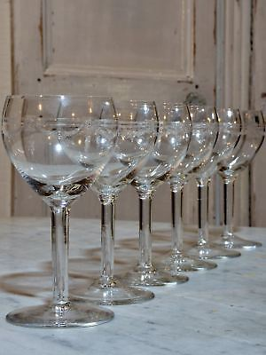 Six vintage French crystal wine glasses in the Louis XV style