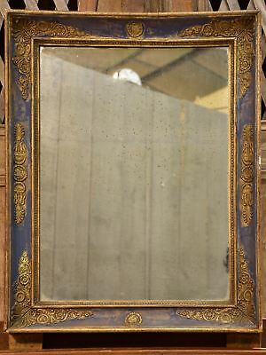 Early 19th century French restoration mirror with blue patina