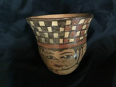 """Peruvian Pre Columbian Nazca painted pottery vessel cup 3.75"""" 350-400 AD RARE"""