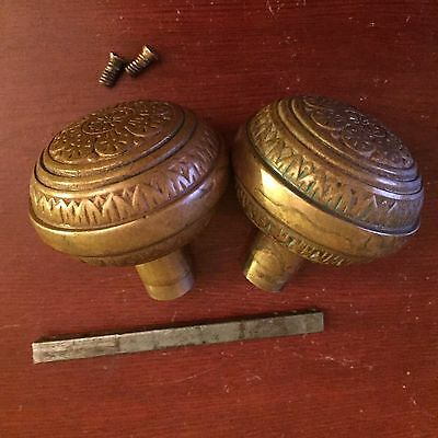 Antique  Pair Of  Vernacular Eastlake Bronze Doorknobs Hardware 1880s