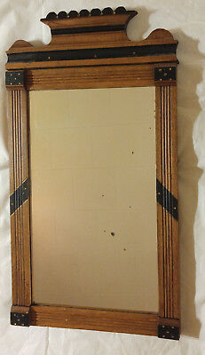 XLNT Antique Eastlake Victorian Carved Wooden Framed Wall Mirror w/ Black & Gold