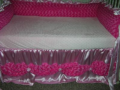 Pink Satin & Cuddle Rose  Cribskirt Bed Skirt