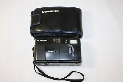 Vintage Olympus Trip 201 Automatic 35mm Compact Film Camera with case
