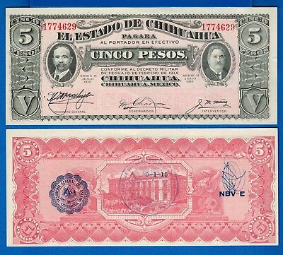 Mexico/Revolutionary S-532A  Five Pesos Year 9.1.1915 Uncirculated Banknote