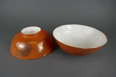 Fine Old Chinese Pair 19th/20th Porcelain Bowl Iron Red Scholar Art