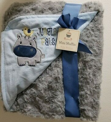 New Mini Muffin Baby Boy JUNGLE PALS Plush Blanket Blue Grey 28x32 Soft Security