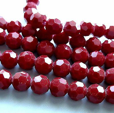 Sparkling Cherry Red Crystal 9.5-10mm Faceted Round 2mm Large Hole Beads 8""