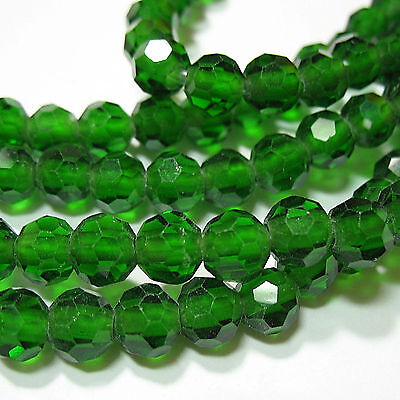 Translucent Emerald Green Crystal 7.5-8mm Faceted Round 2mm Large Hole Beads 8""