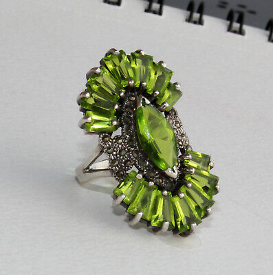 Vintage Art Deco Style Sterling Silver and Faux Peridot Green CZ Marcasite Ring
