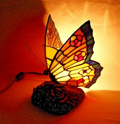 """Beautiful Tiffany Style Colorful """"BUTTERFLY"""" Accent Table Night Light"""